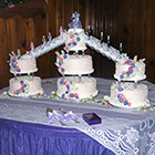 This cake photo features two layers of custom designed cake from Northern Delights.
